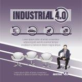 4 промышленное Плакат с ключевым словом и бизнесменом иллюстрация вектора