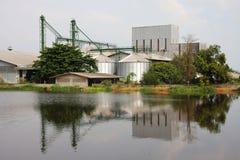 Промышленно, силосохранилище около пруда. стоковая фотография