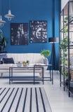 Промышленные шкафы в голубом интерьере стоковая фотография rf