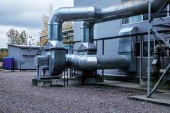 промышленный, вентиляция, на открытом воздухе, современная, вентилятор, трубопровод, металлический стоковое изображение
