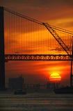 промышленный заход солнца реки Стоковое Изображение