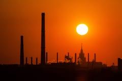 Промышленный заход солнца Стоковое Изображение RF
