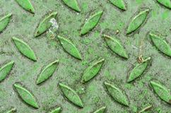 Промышленный зеленый утюг листа Стальная плита диаманта Зеленый цвет и таблица текстуры пола металлического листа Справочная инфо Стоковое Фото