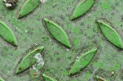 Промышленный зеленый утюг листа Стальная плита диаманта Зеленый цвет и таблица текстуры пола металлического листа Справочная инфо Стоковое фото RF