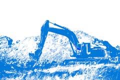 Промышленный землекоп с положением ведра бездельничает на закоренелом стоковое фото