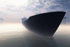 Промышленный порт груза при корабль причаливая в тяжелом тумане 3D представляет 1 Стоковое Изображение RF