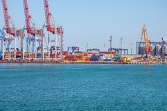 Промышленный порт к день в порте Одессы, Украины стоковое изображение
