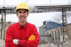 промышленный удовлетворенный работник стоковая фотография rf