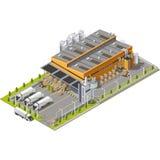 Промышленная зона склада значка установленная Стоковые Изображения