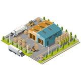 Промышленная зона склада с посадочными местами для нагружать Стоковые Изображения RF