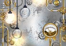 Промышленная предпосылка с манометром и электрической лампой бесплатная иллюстрация