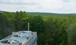 Промышленное здание на предпосылке леса Стоковые Фото