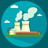 Промышленное здание фабрики - иллюстрация вектора Стоковое Изображение