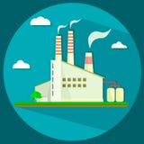 Промышленное здание фабрики - иллюстрация вектора Стоковые Изображения RF