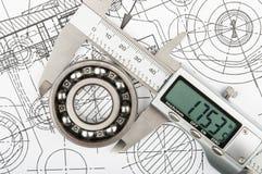 Измерение диаметра подшипника Стоковое Фото