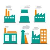 Промышленные значки фабрик и заводов здания конструкции города плоские Стоковая Фотография