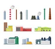 Промышленные здания фабрики установили в плоский стиль дизайна Стоковое Изображение RF