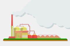 Промышленные здания фабрики установленные в плоский дизайн Стоковое Фото