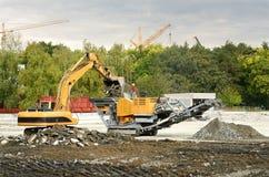 Промышленные машины в строительстве дорог стоковые изображения