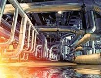 Промышленные стальные трубопроводы и оборудование с отражением Стоковое Изображение