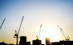 Промышленный ландшафт с силуэтами кранов на предпосылке захода солнца Стоковые Изображения