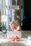 Промышленный белый точильщик сырого мяса Стоковые Изображения