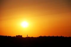 Промышленный городской заход солнца Стоковое Изображение RF