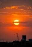 Промышленный заход солнца Стоковая Фотография RF