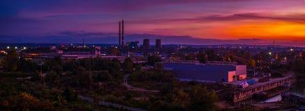 промышленный заход солнца Стоковое Изображение