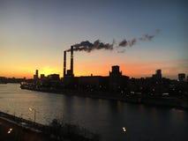 промышленный заход солнца Стоковое Фото
