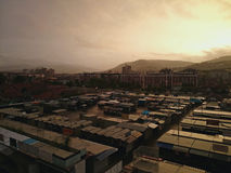 Промышленный заход солнца inj склада стоковая фотография