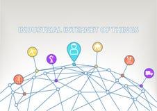 Промышленный интернет предпосылки вещей с красочными значками/символами умного дома etc Стоковое Изображение RF