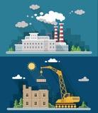Промышленный комплект ландшафта Атомная электростанция и фабрика, b Стоковые Фото