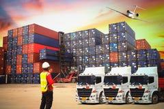 Промышленный корабль перевозки груза контейнера для логистического экспо импорта Стоковая Фотография RF