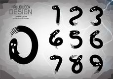 Пронумеруйте комплект номеров логотипа или значка, концепции хеллоуина стоковое фото