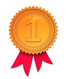 Пронумеруйте one1, красный цвет первого медали ленты награды места 1-ого золотой Стоковое Фото