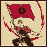 Пропаганда года сбора винограда трудовая иллюстрация штока