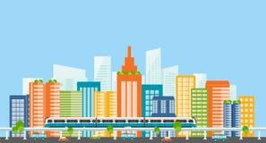 прописно городск Электрический поезд перевозка здание цвета полное иллюстрация штока