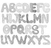 Прописные буквы алфавита смешные в черном цвете Иллюстрация штока
