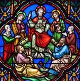Проповедь на цветном стекле держателя стоковое изображение