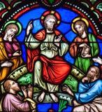 Проповедь на цветном стекле держателя стоковые фотографии rf