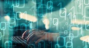 Прорубленная компьютерная безопасность, кибер атака Стоковые Фотографии RF