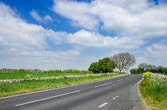 Проселочная дорога асфальта, национальный парк Dartmoor, Великобритания Стоковое фото RF