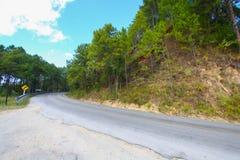Проселочная дорога бежать через зеленые поля Дорога замотки Стоковое Изображение