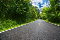 Проселочная дорога между районом к городу, путь путешествием путешественника к природе, дорога в горе и лес для перемещения Стоковое Фото