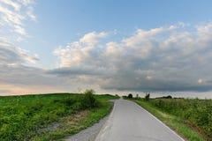 Проселочная дорога через зеленые поля Стоковое Изображение