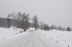 Проселочная дорога Snowy Стоковые Изображения