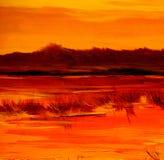 Просклоняйте на озере, крася маслом на холсте стоковые фотографии rf