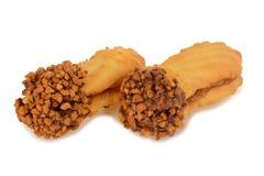 Прослоите печенья, овальное форменное заполненное с сливк шоколада Стоковые Изображения