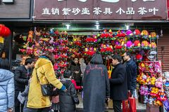 Просмотр Нового Года фестиваля фонарика виска Конфуция стоковая фотография rf